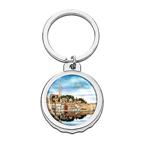 Hqiyaols Keychain Kroatien Altstadt von Rovinj Cap Flaschenöffner Schlüsselbund Creative Kristall Rostfreier Stahl Schlüsselbund Reisen Andenken