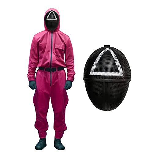 DFGDF Disfraz de Juego de Calamar Netflix Mono Rojo Cosplay Corea Kdrama Merch Trabajador triángulo Cuadrado máscara Traje de Ropa de Halloween