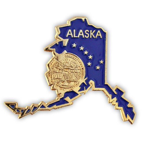 PinMart State Shape of Alaska with The Alaska Flag Lapel Pin 1-1/4'
