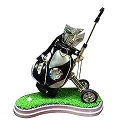 NUOBESTY Mini Desktop Golf Bag Pen Holder with Golf Pens and Clock Pencil Holder Gifts Golf Souvenirs for Men Fathers Golfer Fans (Random Color)