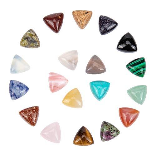 NBEADS 38 Pieza de Cabujones de Piedra Natural, Cuentas de Piedras Preciosas de Triángulo Mixto Plano para Fabricación de Joyas de Pulsera de Collar de Bricolaje (Sin Agujeros), 10x10x5.5mm