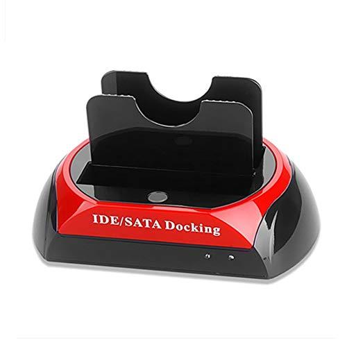 Justdodo Base de Disco Duro USB 2.0 de Alta Velocidad Base de estación de Acoplamiento de Disco de Disco Duro de Disco Duro HDD Dual de 2,5 Pulgadas / 3,5 Pulgadas IDE SATA - Rojo y Negro