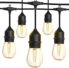 LED Outdoor String Lights 48FT with 2W Edison Vintage Shatterproof Bulbs and Commercial Grade Weatherproof,Heavy-Duty Decorative LED Patio String Lights for Wedding,Gathering
