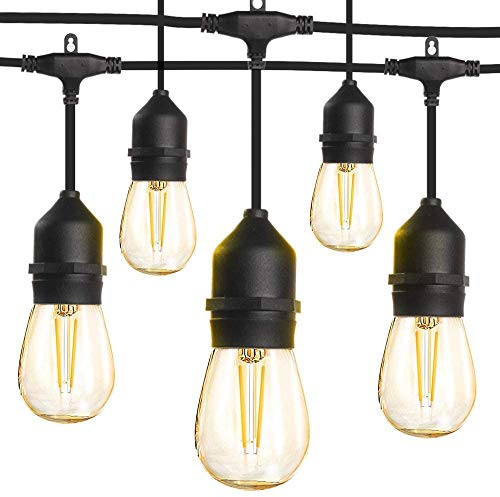 LED Outdoor String Lights 48FT with 2W Dimmable Edison Vintage Shatterproof Bulbs and Commercial Grade Weatherproof,Heavy-Duty Decorative LED Patio String Lights for Wedding,Gathering