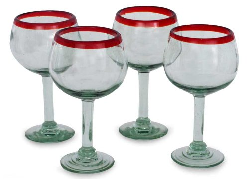 Novica Hand Blown Clear Red Recycled Glass Wine Glasses, 12 Oz 'Ruby Globe' (Set Of 4)