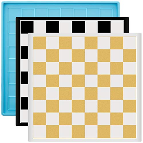 Molde de silicona para tablero de ajedrez reutilizable para tablero de ajedrez de cristal epoxi molde de resina de ajedrez de cristal molde de silicona para bricolaje manualidades haciendo suministros