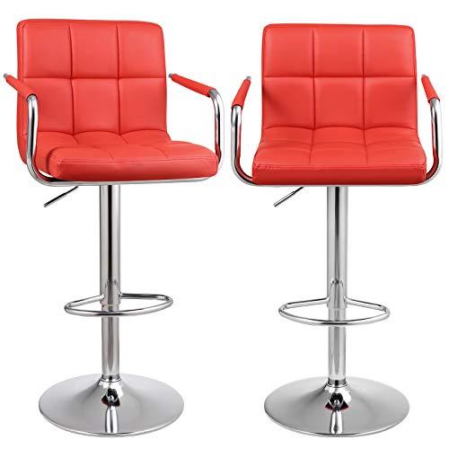 SONGMICS Barhocker 2er Set, höhenverstellbare Barstühle, Barstuhl mit PU-Bezug, 360° Drehstuhl, Küchenstühle mit Armlehnen, Rückenlehne und Fußstütze, verchromter Stahl, rot, LJB93RD