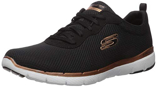Skechers Women\'s Flex Appeal 3.0-first Insight Trainers, Black (Black Mesh/Rose Gold Trim Bkrg), 6 UK (39 EU)