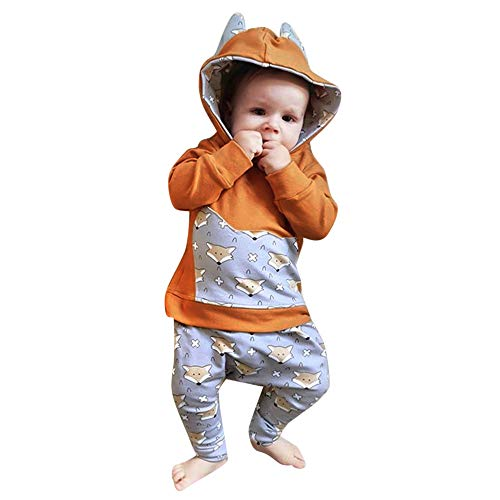 Longra Babykleidung Kinderkleidung Unisex Baby Cartoon Ohren Fuchs Kapuzenpullover Hoodie und Hosen Mode Baby Strampler Neugeboren Kleidung Outfits Set 0-4Jahre (80CM 12 Monate, Gelb)