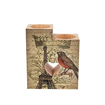 Tea Light Candle Holders,Chic French Bird Modern Vintage Paris Eiffel Tower Personalized Wooden Heart Pedestal Candle Holder for Rustic Wedding Party Birthday Holiday Home Decor