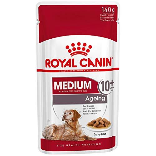 ROYAL CANIN Comida húmeda Medium Ageing 10+ Trozos de Carne en Salsa para Perros Adultos de Razas Medianas - Caja 10 x 140 gr (Bolsitas)