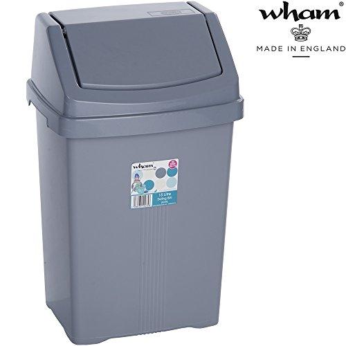 Mülleimer mit Schwingdeckel, 15 Liter, robust, 29x23 cm, grau: Abfalleimer mit Schwingdeckel Eimer Papierkorb Abfallsammler