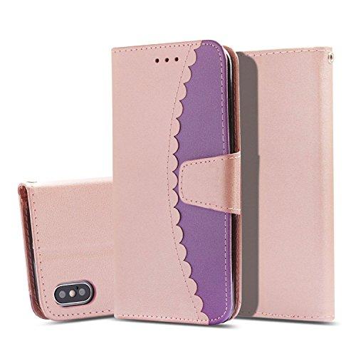 ZCXG Schutzhülle für iPhone X/XS, Leder, Brieftaschenformat, transparent, schlankes Design, stoßfest, mit Standfunktion und Kartenfächern, Magnetverschluss, für iPhone X Farbe: Roségold, Violett