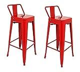 La Silla Española - Pack 2 Taburetes estilo Tolix con respaldo. Color Rojo....
