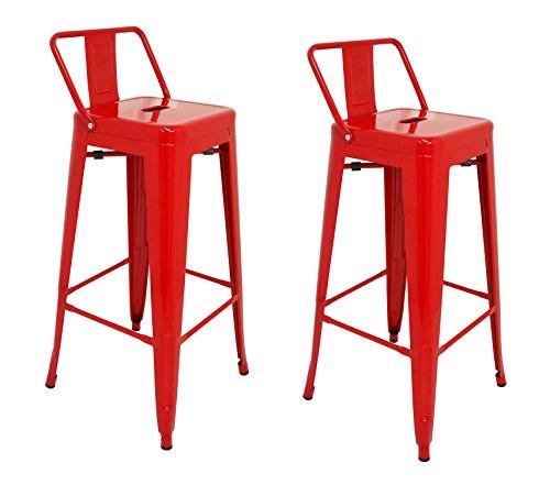 La Silla Española - Pack 2 Taburetes estilo Tolix con respaldo. Color Rojo. Medidas 95x44,5x44,5