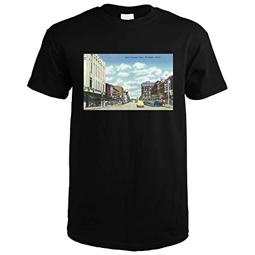 Waukegan, Illinois, View of North Genesee Street 26765 (Black T-Shirt Small)