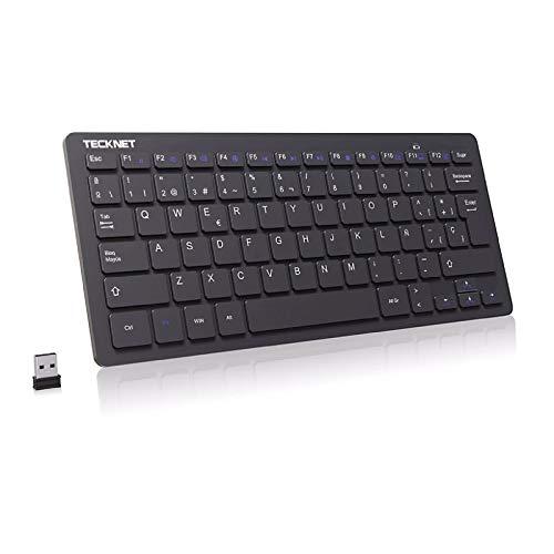 TECKNET Mini Teclado Inalámbrico 2.4G Ultra Delgado, Teclado Inalámbrico USB Ordenador Portátil para PC, Android Smart TV, Laptops (Español,con la Ñ)
