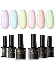 VOXURY Vernis Semi Permanente Pastel UV Gel, 6 stks macaron nagellak gel nagellak losweken manicure nail art kit 10 ml