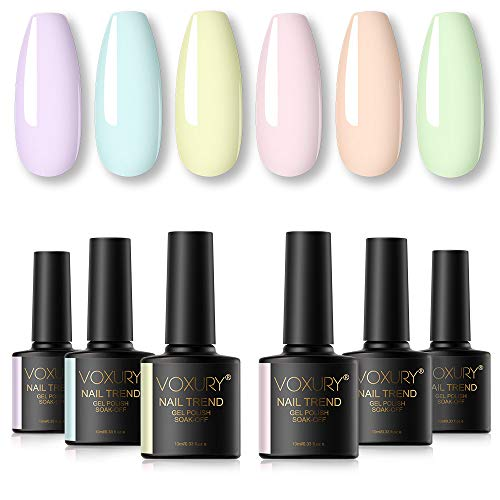 VOXURY Gel Nagellack UV Set, 6PCS Shellac Gellack Pastell Nageldesign Kit Gel Farbgel Gelnägel Design Soak Off Semi Permanentes Soak Off Gel French Maniküre 10ML