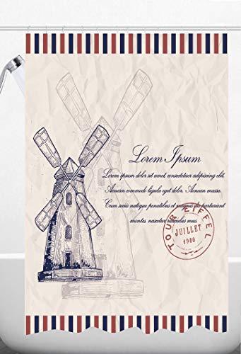 Cortina Baño Cortina de Ducha Impermeable Antimoho 100% Poliester 12 Anillos de Cortina Incluidos 180 x 200 cm - Molino de Viento