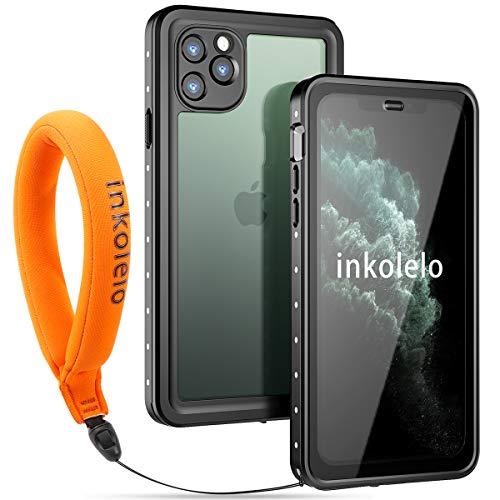 inkolelo Wasserdichte Hülle für iPhone 11 Pro max Schutzhülle Ganzkörper Unterwasser Wasserdicht IP68 Schale Wasserschutzhülle mit Schwimmender Schlüsselband für iPhone 11 Pro max (Mattschwarz/Orange)
