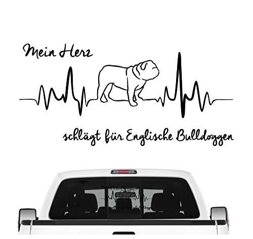 Siviwonder Englische Bulldogge Bully Aufkleber Auto Herz Heartbeat Hundeaufkleber Hund Folie Farbe Schwarz, Größe 20cm