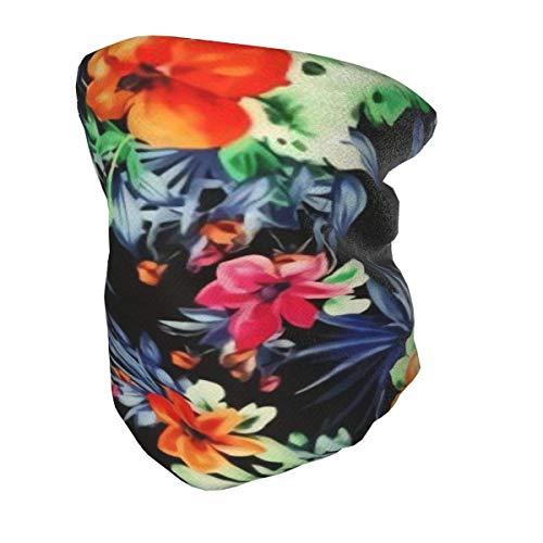 Multifunktionaler Schal/Kopftuch Halswärmer für Kinder Gesicht tropischen Druck Tapete Blumen Hintergrund und Bild hawaiianischen Blumen Hals Gamasche wiederverwendbar schwarz