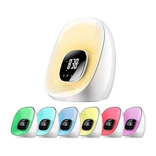 ELXSZJ XTZJ Despertador de Despertador, Reloj Despertador de Amanecer con Radio para dormitorios, 7 Colores de luz de Noche, Snooze, Brillo Ajustable y Control táctil para niños