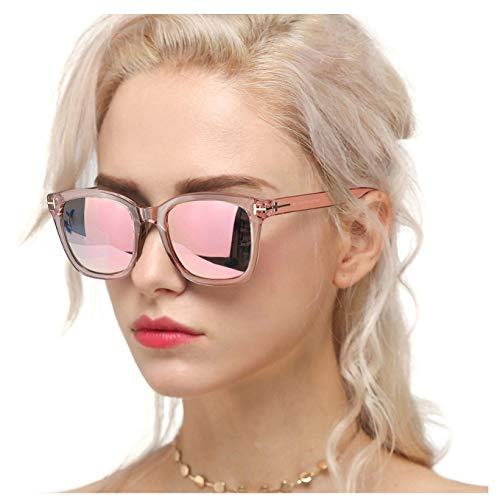 Myiaur Classic Sunglasses for Women Polarized Driving Anti Glare 100% UV Protection (Pink Frame/Pink Mirrored Glasses)