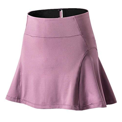 N\P Falda de las mujeres de cintura alta de seguridad Bragas de yoga Pantalones cortos de malla de doble capa Patchwork Fitness Shorts Deportes Falda corta - rosa - Medium