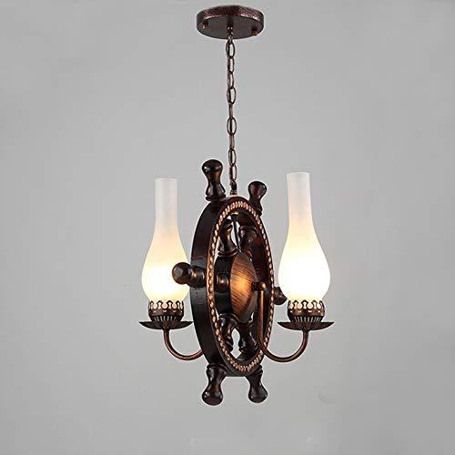 FGH Solide Holz Hängendes Licht, Eisen Ruder Leuchter,Amerikanisch Kreativ Mahagoni Einstellbar Decke Pendelleuchte Küche Restaurant Esszimmer Scheune Warenhaus Hängendes Licht