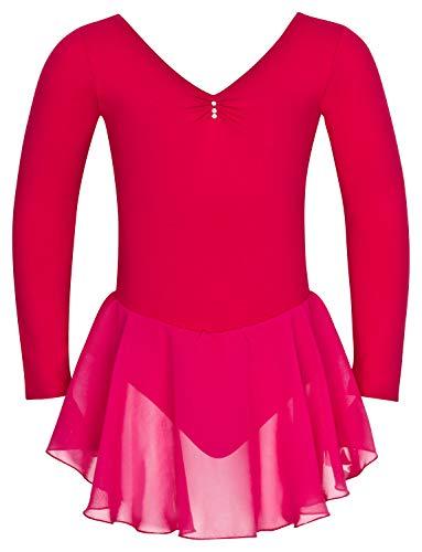 tanzmuster ® Ballettkleid Mädchen Langarm - Anna - aus weichem Baumwollstoff mit Glitzersteinen und Chiffon Röckchen fürs Kinder Ballett Ballettbodyin pink, Größe:104/110