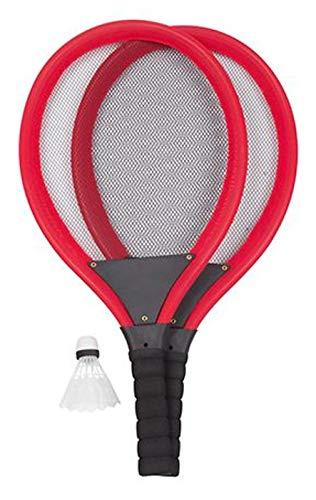 Unbekannt Soft-Tennis-Set 4-teilig Jumbo-Tennisschläger Federball Softball Ball Spiele-Set, Farbe:rot