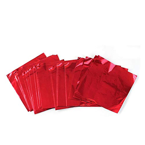 Aluminum Foils Paper Chocolate Candy Wrapping/Packing Sheets, Red, 6x6 Inches, Pack of 200