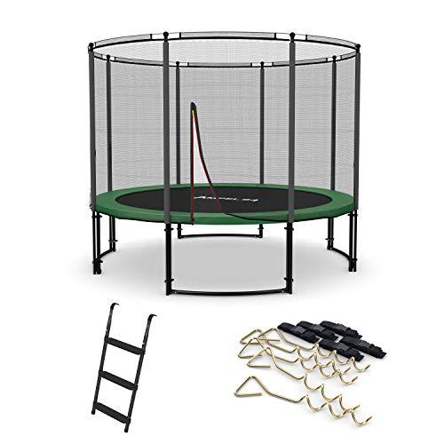 Ampel 24 Deluxe Trampolin 305 cm mit außenliegendem Netz, Belastbarkeit 150 kg, Set mit Leiter &...
