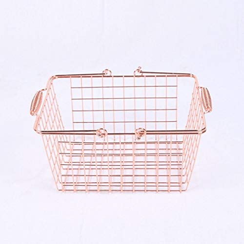 Xu Yuan Jia-Shop Cesta de la Compra Golden Rose supermercado del Metal del Oro Carrito cosmética Tienda Carrito Cesta de Transporte/Cesta Picnic
