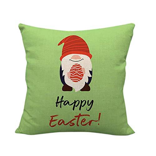 SODAL Fundas de cojín para sofá o cama, decoración del hogar, funda de cojín de lino con estampado de huevo de conejo Duende para decoración del hogar, funda de repuesto (G, 1 unidad)