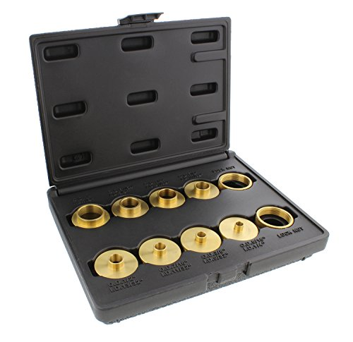 DCT Brass Router Template Guides Bushing 10-Piece Set & Black Carrying Case - Porter-Cable Guide Bushings 5/16 to 1in