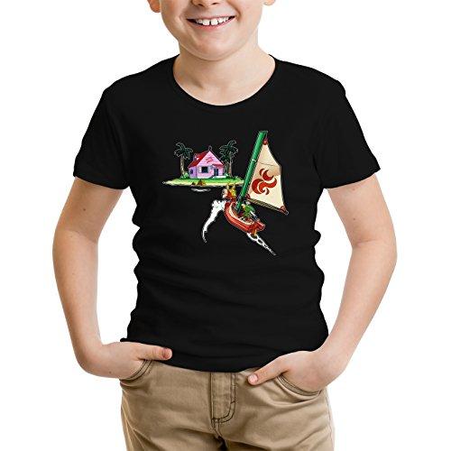 T-Shirt Enfant Noir Dragon Ball Z - Zelda parodique Link et la Kame House : La découverte d'une Nouvelle île. (Parodie Dragon Ball Z - Zelda)