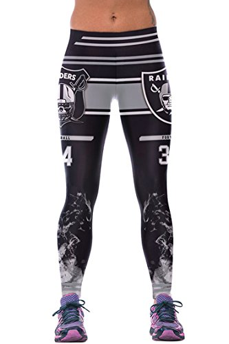 COCOLEGGINGS Ladies 3D Digital Print Football Leggings Grey Free Size
