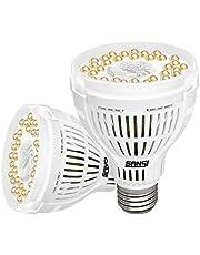 SANSI Set van 2 ledplantenlampen, volspectrum, E27, 15 W, wit, plantenlicht voor kamerplanten, led-groeilamp, groeilamp voor kassen, binnentuinen, bloemen, groenten, fruit