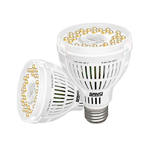 SANSI 2er Pack LED Pflanzenlampe Vollspektrum E27 15W Weiß Pflanzenlicht für Zimmerpflanzen LED Grow Light Wachstumslampe für Gewächshäusern,Innengärten, Blumen, Gemüse, Obst