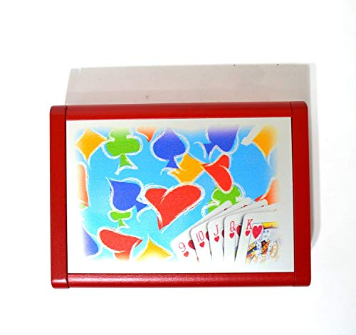 Dal Playing Cards with Holder Dibond Cardboard Red Set of 3