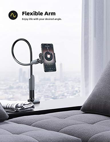 Lamicall Handy Halter für Bett, Schwanenhals Handy Halterung - Flexible Lang Arm Handy Ständer für iPhone 12 Mini, 12 Pro Max, 11 Pro XS Max X 8 7 6S, Samsung S10 S9 S8, 4-6,5 Zoll Smartphone -Schwarz