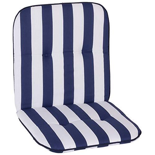 nxtbuy Gartenstuhl-Auflage Capri 96x47 cm Blue & White 4er Set - Niedriglehnerauflage für Gartenstühle - Stuhlauflage mit Komfortschaumkern - Made in EU / ÖkoTex100