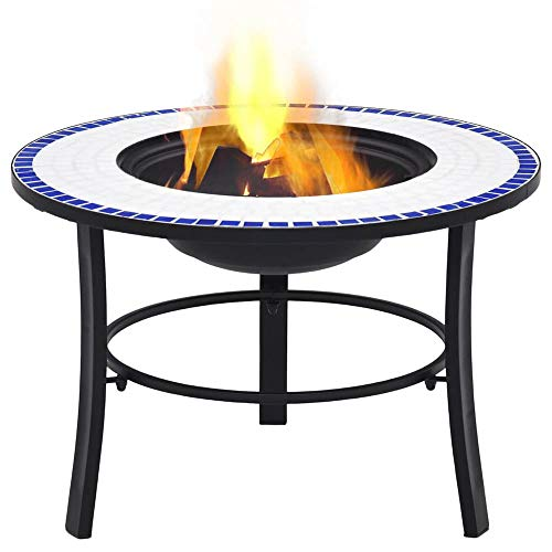 Mosaic Fire Pit Table with BBQ Grill Shelf, 3 in 1 Round Firepit for Barbecue, Heater, Ice Pit, Metal Brazier for Garden Patio Outdoor, 68 x 68 x 45 cm Ceramic 【UK STOCK】