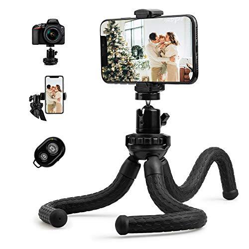 Fotopro Handy Stativ Flexibel Tripod Dreibein Kamera Stativ Ständer mit 1/4 Zoll Stativ Adapter und Handyhalterung für Smartphone, Kamera, Ringlicht