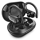 Wireless Earbuds - CRAZO PRO Bluetooth 5.0 Headphones IPX 7 Waterproof with Detachable Ear Hooks & USB-C Charging Case, 60Hr Playtime, HI-Fi 13.6mm Bass Boosters, Touch Control, Dual Mic, SP Mono Mode