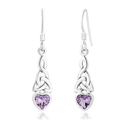 SUVANI Sterling Silver Celtic Knot Purple Amethyst Gemstone Heart Drop Dangle Hook Earrings