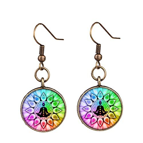 Pendientes hechos a mano con diseño de mandala, de cristal, con diseño de budismo zen y siete venas, para amantes del yoga
